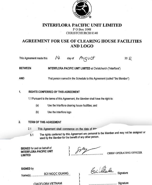 Trích Thỏa thuận bằng văn bản về quyền sử dụng Logo và thương hiệu Interflora